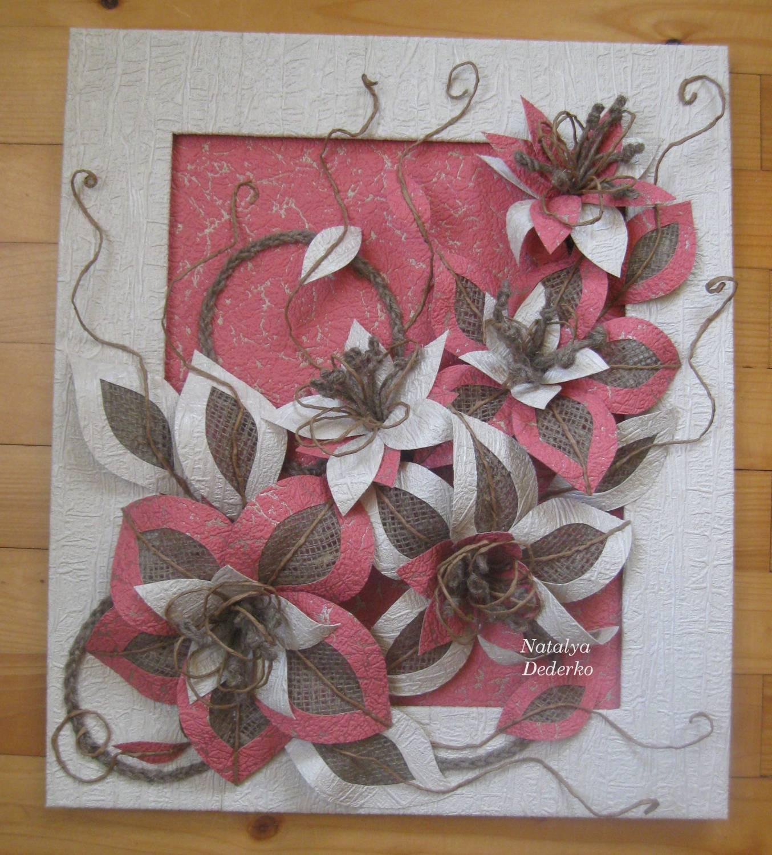 Картина из тканевых цветов своими руками
