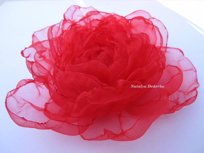 Цветы из органзы ткани своими руками фото