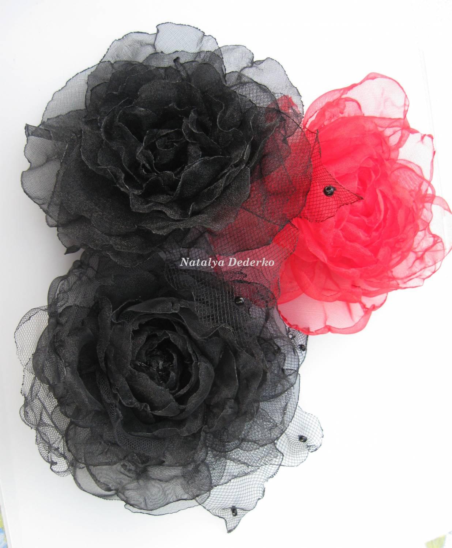 Цветы из сетчатой ткани своими руками